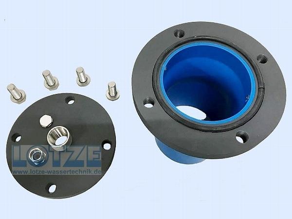 Brunnenkopf 125 PVC 5 Zoll x 1½ Zoll Edelstahlmuffe