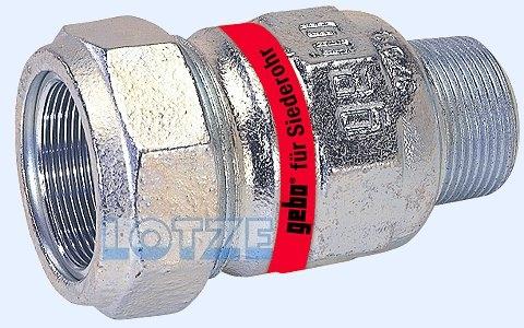 Gebo-Verschraubung verzinkt  1¼ Zoll AG für Siederohr 38,0 mm