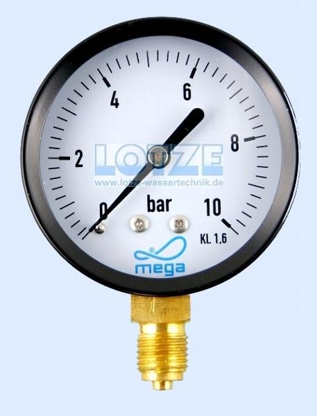 Manometer 0 - 10 bar 63mm ¼ Zoll unten (radial) # 8500.10