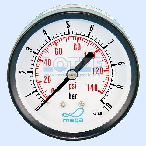 Manometer 0 - 10 bar 63mm ¼ Zoll hinten (axial) # 8400.10