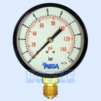 Manometer 0 - 10 bar 100mm ½ Zoll unten (radial) # 8401.78