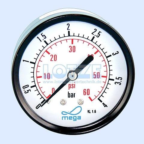 Manometer 0 - 4 bar 63 mm ¼ Zoll hinten (axial) # 8400.04