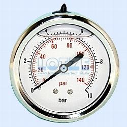 """Glyzerin-Manometer ¼"""" hinten 0 -10 bar 63mm (axial) VA # 8599.08"""