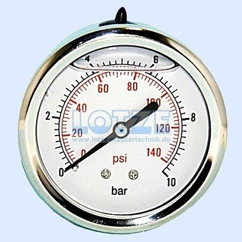 Glyzerin-Manometer 0 -10 bar 63mm ¼ Zoll hinten (axial) VA # 8599.08
