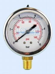 Glyzerin-Manometer 0 -10 bar 63mm ¼ Zoll unten (radial) VA # 8599.31