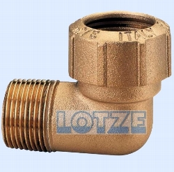 PE-Rohr Klemmverbinder 90° Messing AG 1¼ Zoll x 40 mm