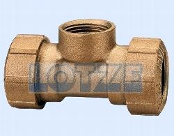 "PE-Rohr Klemmverbinder T-Stück Messing 32 mm x 1"" Innengewinde"