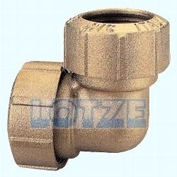 PE-Rohr Klemmverbinder Winkel - Kupplung Messing 32 mm 90°