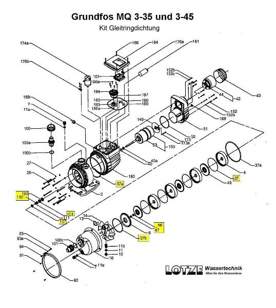 Grundfos Kit Gleitringdichtung Für Grundfos Mq 3 35 45 96450696 Lotze Wassertechnik Shop