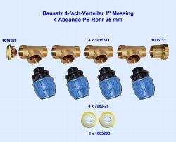 Verteiler Bausatz Messing 4-fach 1 Zoll > 4 x 25 mm PE-Rohr