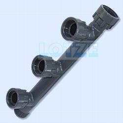Verteiler PVC 4-fach Abgang 1 Zoll Anschlüsse