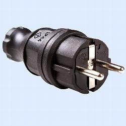 Schuko-Stecker schwarz 3x2,5mm² 10-16A 250V IP44 2polig