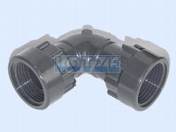 Verschraubung PVC 90° Winkel 1 Zoll IG - IG