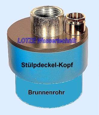 Brunnenkopf 115 Stülpdeckel PVC 4½ Zoll x 1 Zoll